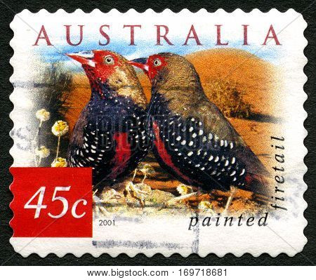 AUSTRALIA - CIRCA 2003: A used postage stamp from Australia depicting an image of two Painted Firetails also known as Painted Finches circa 2003.