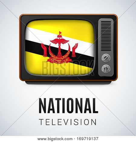 Vintage TV and Flag of Brunei as Symbol National Television. Tele Receiver with Bruneian flag