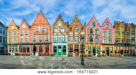 Colorful Old Brick Houses In Bruges, Belgium