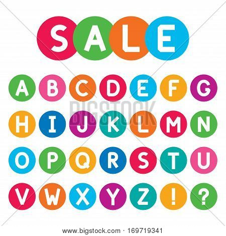 Abstract font collection. Stylized alphabet capital letters. Exclamation sign and question mark. Colorfull circle with characters. Vector