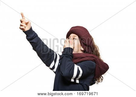 Girl with a turban in theatrical pose, portrait in studio, isolated on white background
