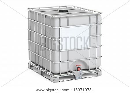Intermediate bulk container closeup 3D rendering isolated on white background