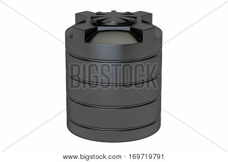 plastic black water tank closeup 3D rendering isolated on white background