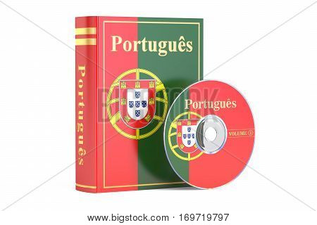 Portuguese book with flag of Portugal and CD disk 3D rendering isolated on white background