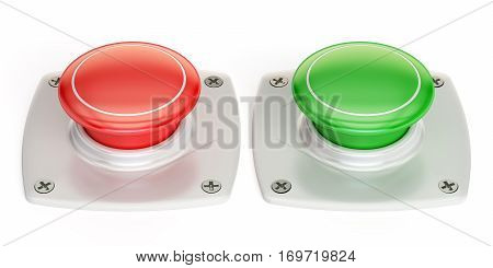 red and green push buttons 3D rendering isolated on white background