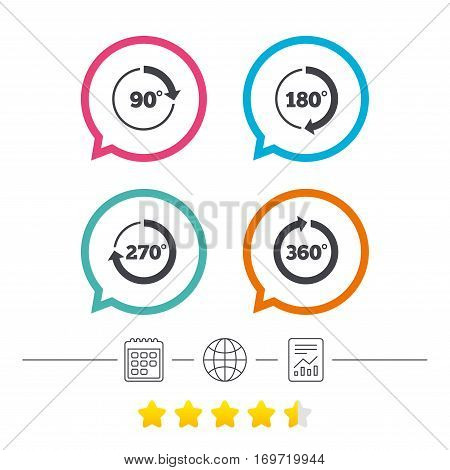 Angle 45-360 degrees circle icons. Geometry math signs symbols. Full complete rotation arrow. Calendar, internet globe and report linear icons. Star vote ranking. Vector