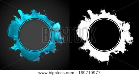 Abstract blue dust wave on dark background with alpha channel 3d rendering