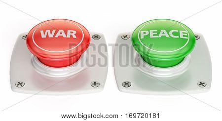 war and peace push button 3D rendering isolated on white background