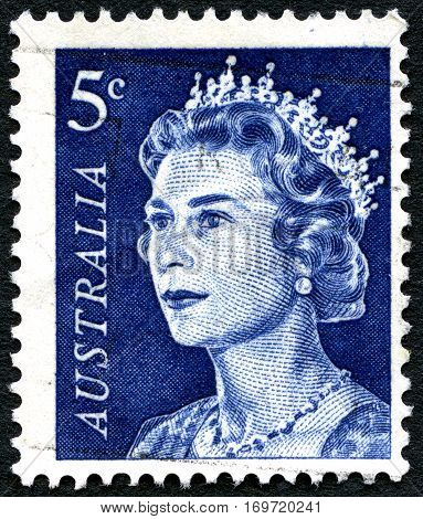 AUSTRALIA - CIRCA 1970: A used 5 cent postage stamp from Australia depicting a portrait of Queen Elizabeth II circa 1970.