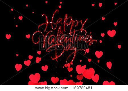 red sparkle glitter happy valentine day word shape with red heats shape rise flowing on black background with alpha channel matte holiday festive valentine day event love concept