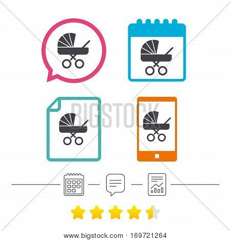 Baby pram stroller sign icon. Baby buggy. Baby carriage symbol. Calendar, chat speech bubble and report linear icons. Star vote ranking. Vector