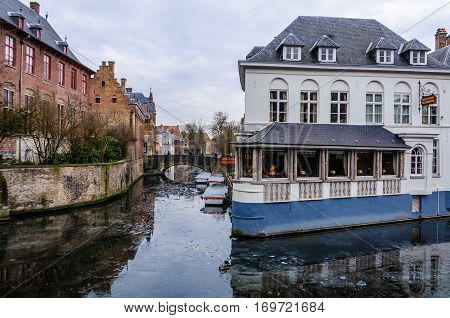 Canal And Medieval Houses In Bruges, Belgium