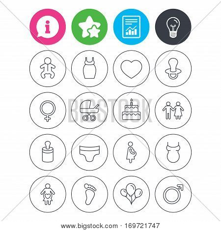 Information, light bulb and report signs. Baby and Maternity icons. Toddler, diapers and child footprint symbols. Heart, birthday cake and pacifier thin outline signs. Vector
