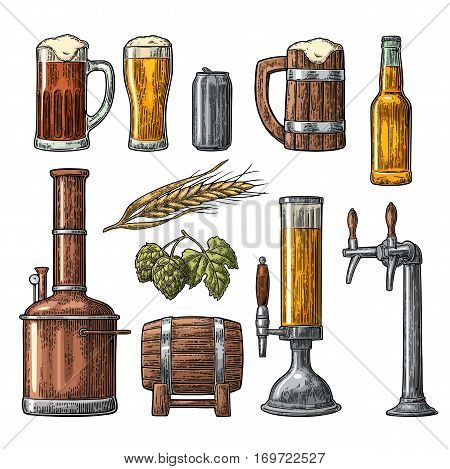 Beer set with tap, glass, can, bottle, hop branch with leaf, ear of barley, wooden barrel and tanks from brewery factory. Vintage vector engraving illustration. Isolated on white background.