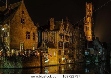 Romantic Night Scenery In Bruges, Belgium