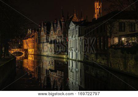 Night Reflection In Bruges, Belgium