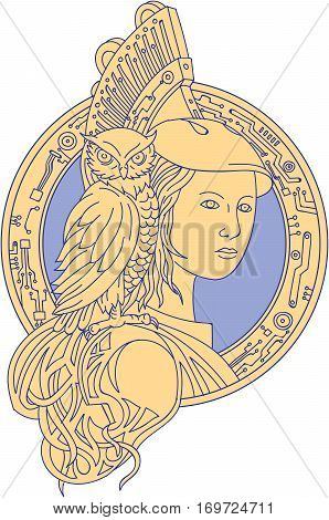 Mono line style illustration of Athena or Athene the goddess of wisdom craft and war in ancient Greek religion and mythology with owl perched on shoulder set inside circle with electronic circuit board set on isolated white background. poster