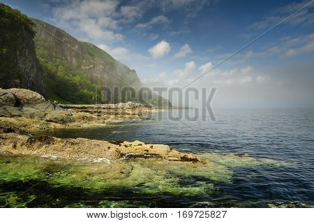 Rocky coast and cliffs of Loch Buie Isle of Mull Scotland