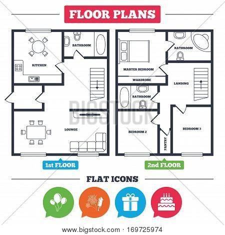 Architecture plan with furniture. House floor plan. Birthday party icons. Cake and gift box signs. Air balloons and fireworks symbol. Kitchen, lounge and bathroom. Vector