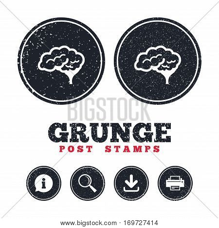 Grunge post stamps. Brain with cerebellum sign icon. Human intelligent smart mind. Information, download and printer signs. Aged texture web buttons. Vector