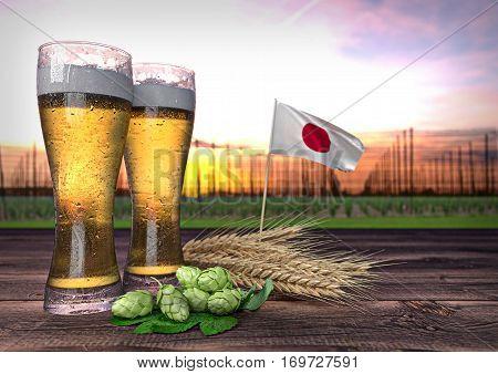 concept of beer consumption in Japan- 3D render