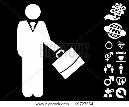 Standing Businessman pictograph with bonus lovely design elements. Vector illustration style is flat iconic white symbols on black background.