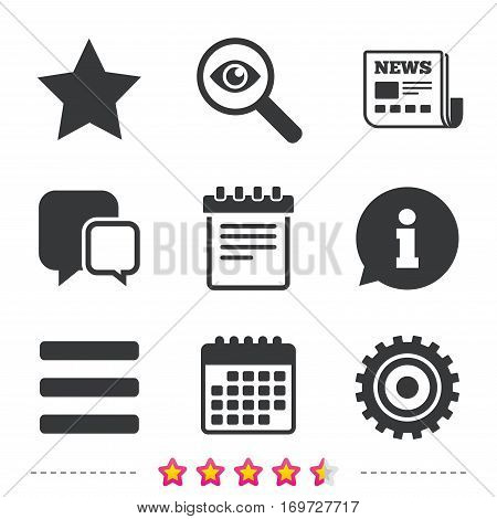 Star favorite and menu list icons. Notepad and cogwheel gear sign symbols. Newspaper, information and calendar icons. Investigate magnifier, chat symbol. Vector