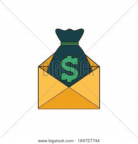 moneybag with envelope icon image, vector illustration design