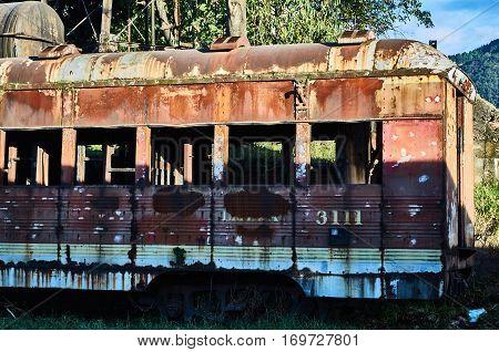 Abandoned Train Car In The Savannah Station