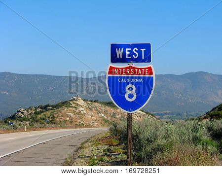 Westbound Interstate Highway 8 sign in California