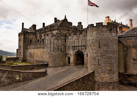 Stirling Castle in the countryside west of Edinburgh, Scotland.