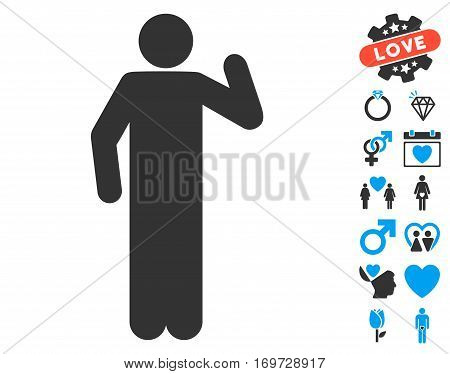 Opinion Pose icon with bonus lovely design elements. Vector illustration style is flat iconic blue and gray symbols on white background.