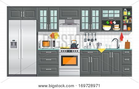 Kitchen appliances with black interior on white background. flat home art vector illustration. indoor. kitchen interior with, stove, cupboard, dishes and fridge.
