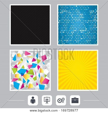 Carbon fiber texture. Yellow flare and abstract backgrounds. Business icons. Human silhouette and presentation board with charts signs. Case and gear symbols. Flat design web icons. Vector