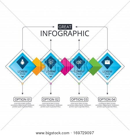 Infographic flowchart template. Business diagram with options. Business icons. Human silhouette and presentation board with charts signs. Case and gear symbols. Timeline steps. Vector