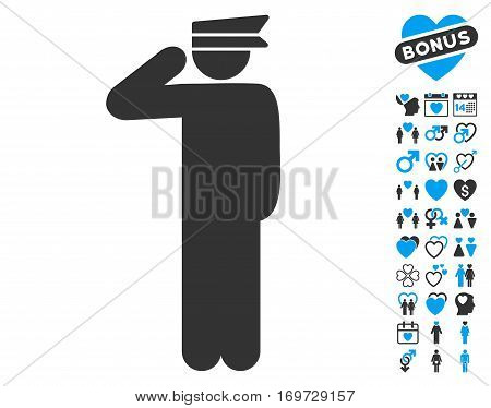 Police Officer pictograph with bonus valentine graphic icons. Vector illustration style is flat iconic blue and gray symbols on white background.