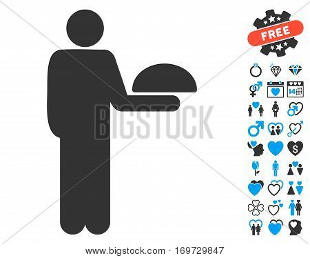 Standing Waiter pictograph with bonus lovely graphic icons. Vector illustration style is flat iconic blue and gray symbols on white background.