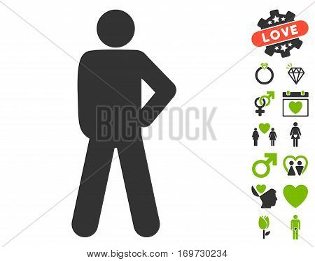 Audacity Pose pictograph with bonus valentine design elements. Vector illustration style is flat iconic eco green and gray symbols on white background.