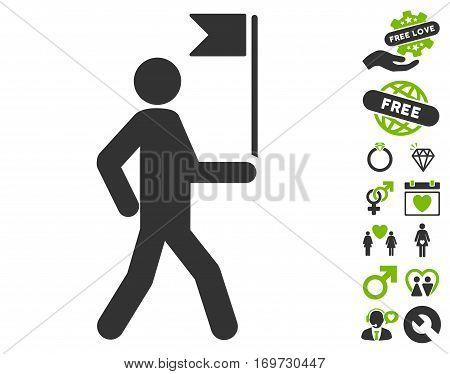 Guide Man With Flag pictograph with bonus dating graphic icons. Vector illustration style is flat iconic eco green and gray symbols on white background.