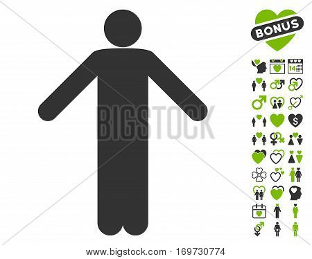 Ignorance Pose pictograph with bonus valentine images. Vector illustration style is flat iconic eco green and gray symbols on white background.