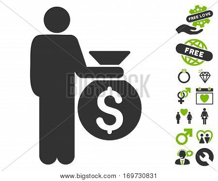 Investor pictograph with bonus dating pictograms. Vector illustration style is flat iconic eco green and gray symbols on white background.