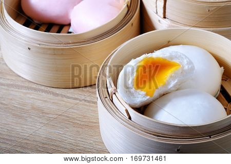 Streamed Chinese Buns, Dim Sum In Round Bamboo Crate