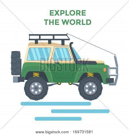 Offroad Vehicle with mud tire and roof rack. Vector illustration