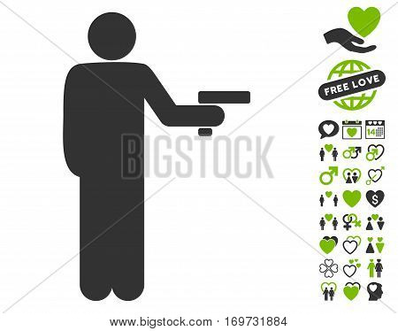 Robber With Gun icon with bonus love pictures. Vector illustration style is flat iconic eco green and gray symbols on white background.