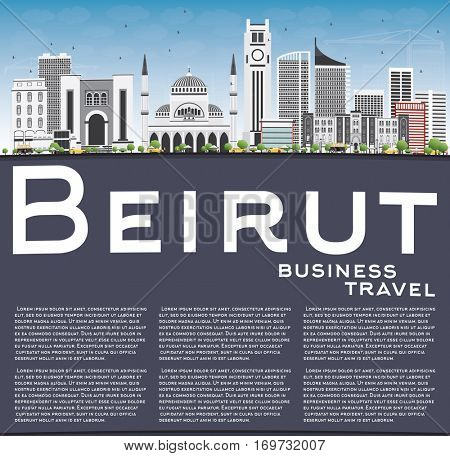 Beirut Skyline with Gray Buildings, Blue Sky and Copy Space. Business Travel and Tourism Concept with Modern Architecture. Image for Presentation Banner Placard and Web Site.