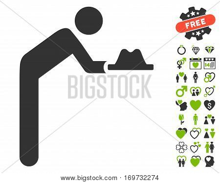 Servant With Hat pictograph with bonus valentine symbols. Vector illustration style is flat iconic eco green and gray symbols on white background.
