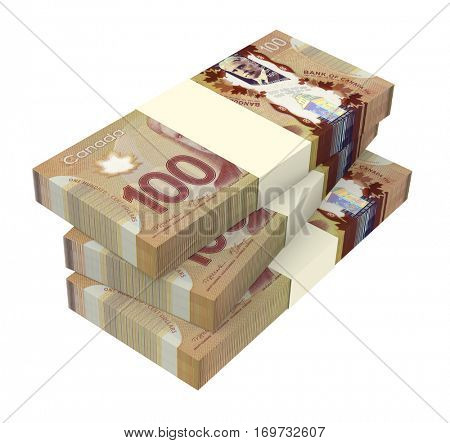 WROCLAW, POLAND - OCTOBER 25: 3D illustration of Canadian banknotes drawn on 25 October 2014 in Wroclaw, Poland. Dollar banknotes are the bills of Canada.