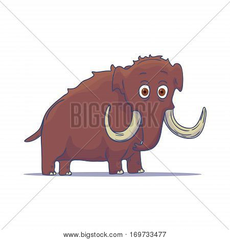 Cartoon Mammoth isolated on white background. Vector illustration