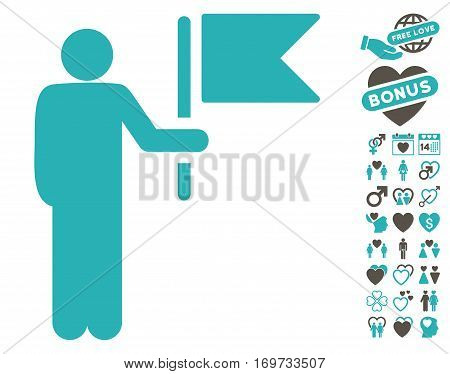 Commander With Flag icon with bonus love pictures. Vector illustration style is flat iconic grey and cyan symbols on white background.