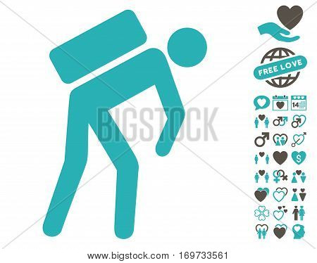 Courier pictograph with bonus dating pictures. Vector illustration style is flat iconic grey and cyan symbols on white background. poster